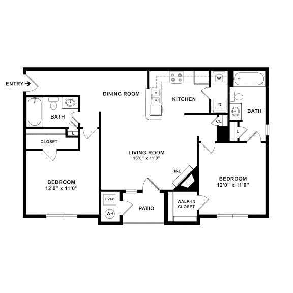 Governor's Green 2 bedroom 2 bathroom floorplan