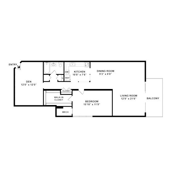 one bedroom one bath floorplan with a den