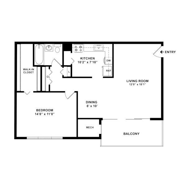 one bedroom one bath floorplan 722 square feet