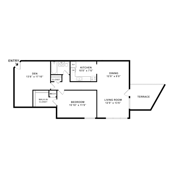 one bedroom one bath floorplan with a den 767 square feet