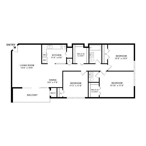 three bedroom one and a half bathroom floorplan 1100 square feet