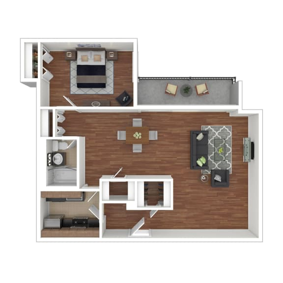 Colesville  Towers Apartments  1 bedroom floorplan 930 sq ft