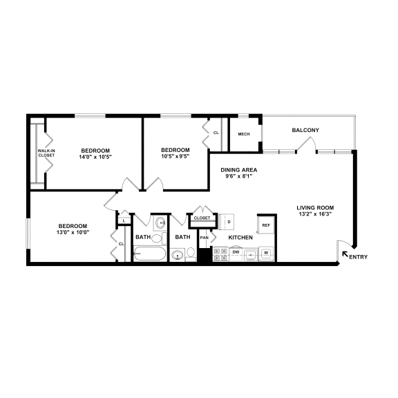 three bedroom and one and a half bathroom floor plan