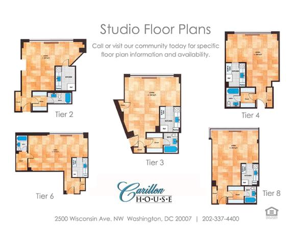 Studio 1 Bedroom Floor Plans Carillon House Apartments