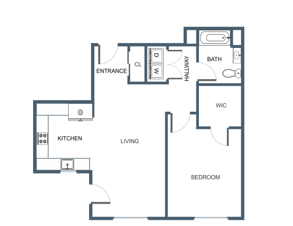 A9 Floor Plan at Latitude at South Portland, Maine, 04106