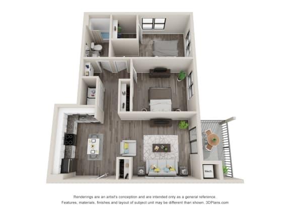 B2 Floor Plan at Latitude at South Portland, Maine, 04106
