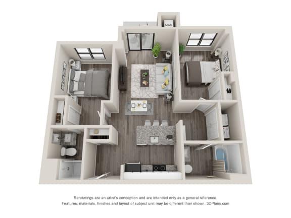 C5 Floor Plan at Latitude at South Portland, Portland, ME