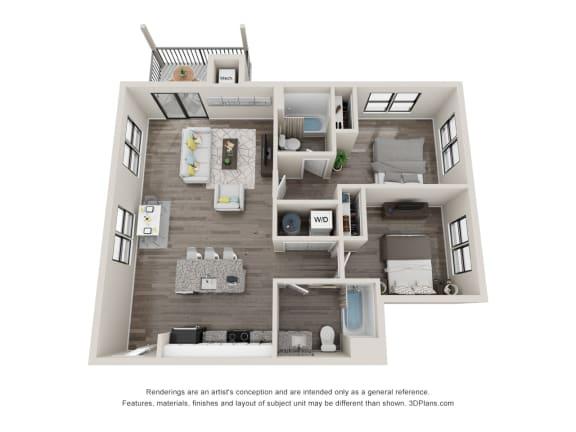 C9 Floor Plan at Latitude at South Portland, Portland, 04106