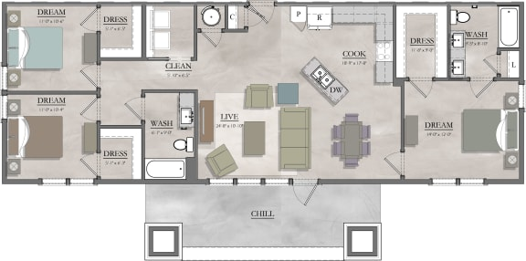 3CB Floor Plan at Livingston Apartment Flats, Virginia