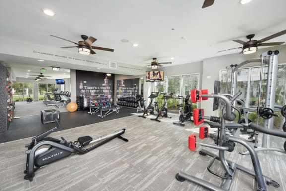 State-of-the-Art 24 Hour Fitness Center and Yoga/Cross Training Center with Fitness On Demand Kiosk at Summerhouse Lakewood Ranch Apartments, Florida, 34211
