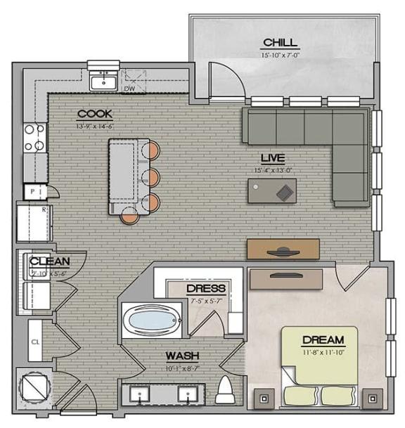 1 Bedroom 1 Bath B Floor Plan at The Jamestown Apartment Flats, Richmond, 23224