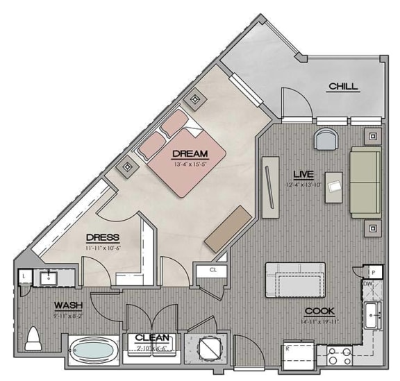 1 Bedroom 1 Bath C Floor Plan at The Jamestown Apartment Flats, Richmond, Virginia