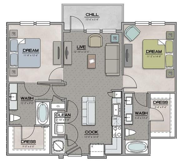 2 Bedroom 2 Bath A Floor Plan at The Jamestown Apartment Flats, Richmond