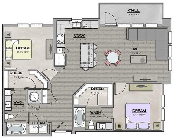 2 Bedroom 2 Bath B Floor Plan at The Jamestown Apartment Flats, Virginia