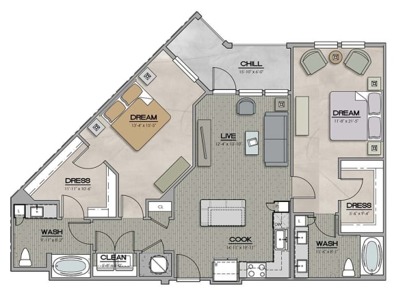 2 Bedroom 2 Bath C Floor Plan at The Jamestown Apartment Flats, Virginia, 23224