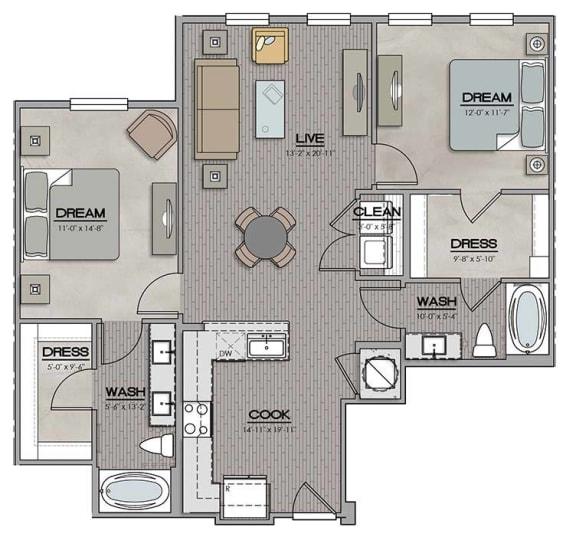 2 Bedroom 2 Bath D Floor Plan at The Jamestown Apartment Flats, Richmond, VA, 23224