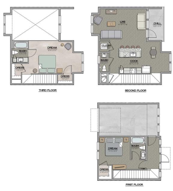 2 Bedroom 2 Bath E Floor Plan at The Jamestown Apartment Flats, Richmond, VA