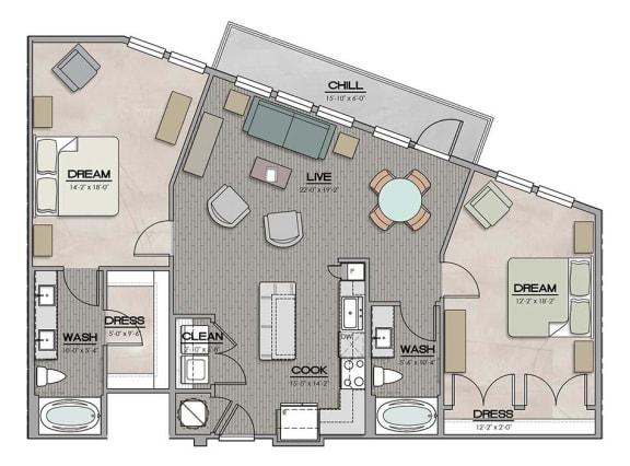 2 Bedroom 2 Bath F Floor Plan at The Jamestown Apartment Flats, Richmond, 23224