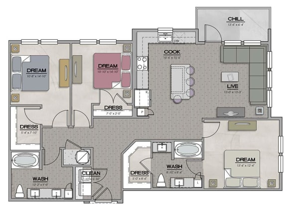 3 Bedroom 2 Bath Floor Plan at The Jamestown Apartment Flats, Richmond