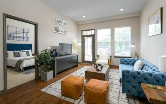 Living Room With Expansive Window at Santos Flats Apartment Homes, Tampa, 33619