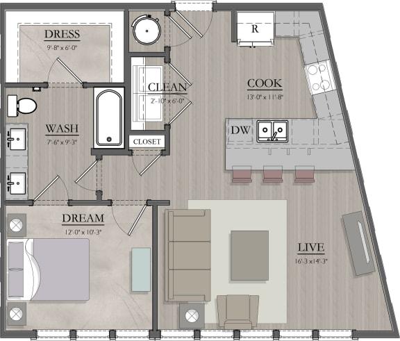 A3 Floor Plan at Livingston Apartment Flats, Virginia
