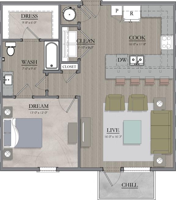 A4A Floor Plan at Livingston Apartment Flats, Chesterfield, VA, 23832