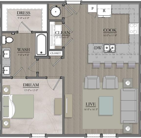 A4 Floor Plan at Livingston Apartment Flats, Virginia, 23832