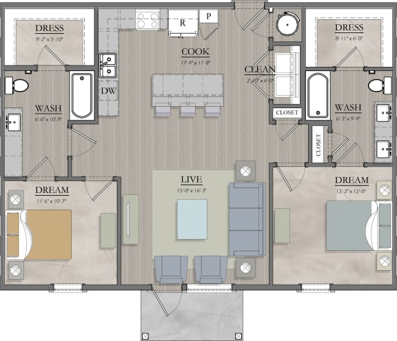 B2 Floor Plan at Livingston Apartment Flats, Chesterfield, Virginia