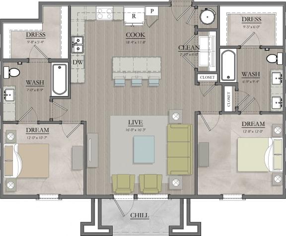 B4  Floor Plan at Livingston Apartment Flats, Virginia