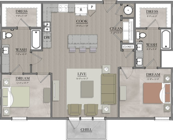 B5 Floor Plan at Livingston Apartment Flats, Virginia, 23832