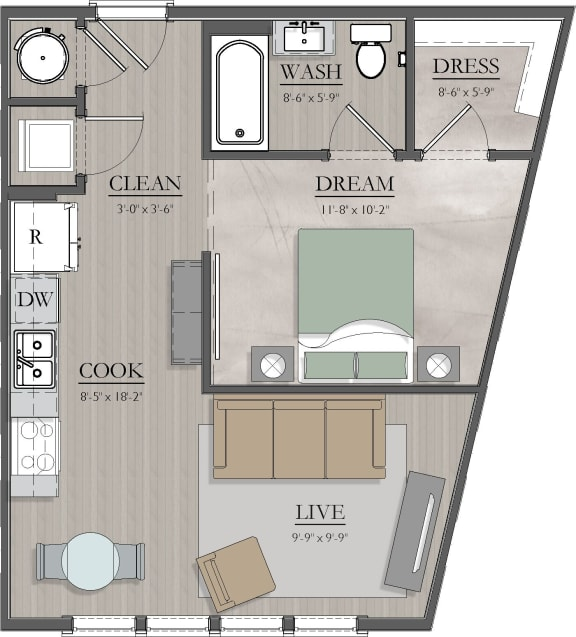 S1 Floor Plan at Livingston Apartment Flats, Chesterfield, VA, 23832