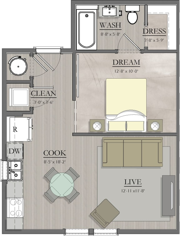 S2 Floor Plan at Livingston Apartment Flats, Chesterfield, 23832