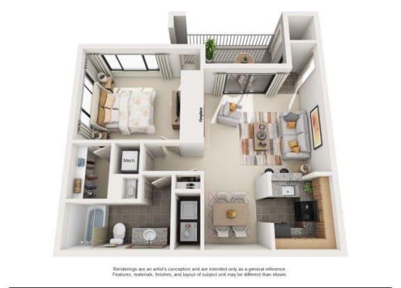 Garnet Floorplan 1 Bedroom 1 Bath 735 Total Sq Ft at Rosemont Apartments, Roswell, GA 30076