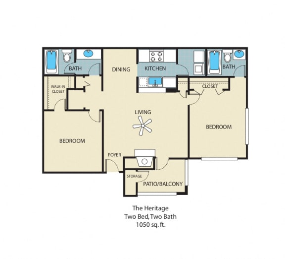Heritage Floorplan 2 Bedroom 2 Bath 942 Total Sq Ft at Rosemont Apartments, Roswell, GA 30076