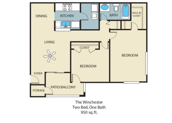 Winchester Floorplan 2 Bedroom 1 Bath 884 Total Sq Ft at Rosemont Apartments, Roswell, GA 30076