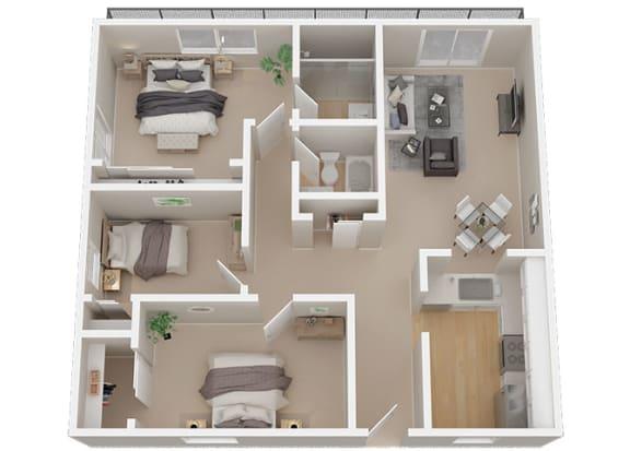 3 bedroom 2 bath Floor Plan at 1038 on Second, Lafayette, CA