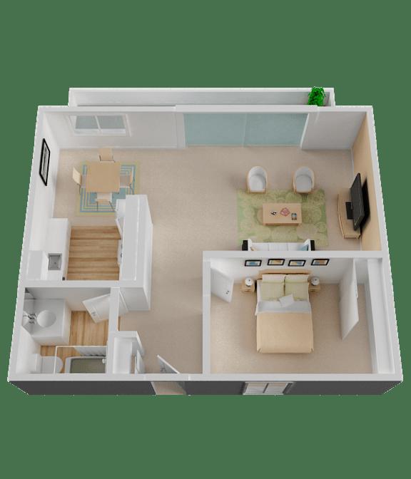 One Bedroom Floor Plan at Diablo Pointe, in Walnut Creek, CA