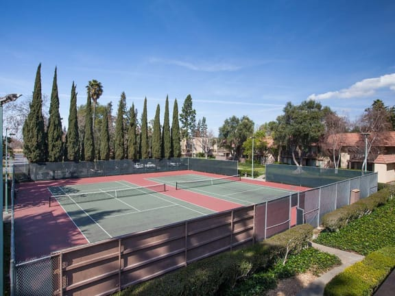 Outdoor Tennis Courts at Valley West Apartments in San Jose, CA 95122