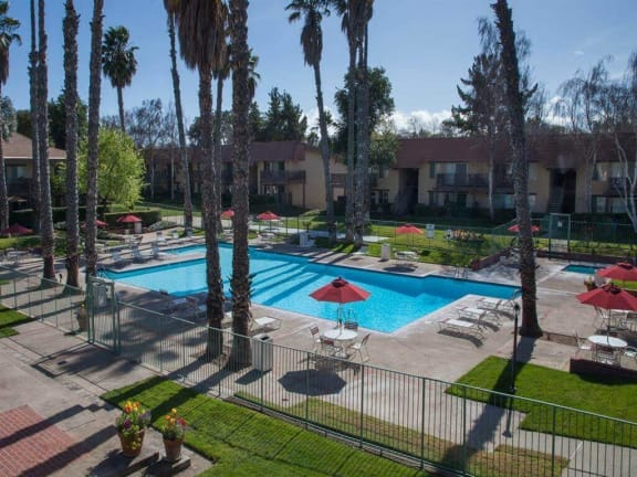 Aerial Pool View at Valley West Apartments in San Jose, CA 95122