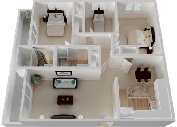 Three Bed Two Bathroom Floor Plan at Oak Pointe, California, 94538
