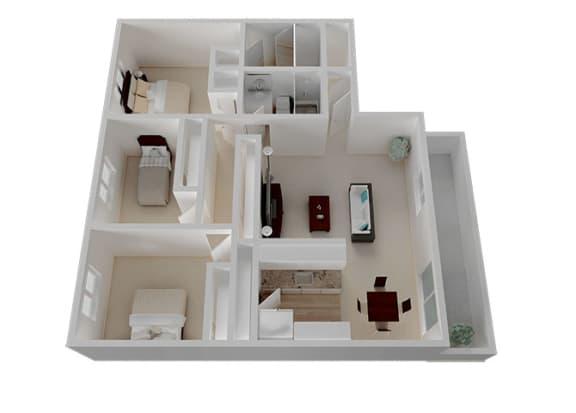 Three Bedroom Two Bathroom Floor Plan at Oak Pointe, California, 94538