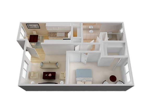 One Bedroom Floor Plan at Vista Pointe, Santa Clara, CA
