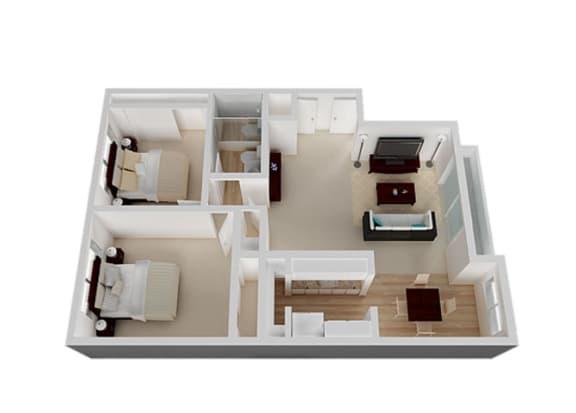Two_Bedroom Floor Plan at Oak Pointe, California
