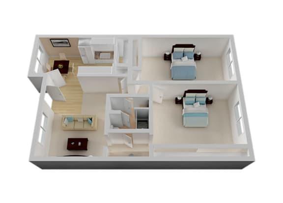 Two Bedroom Floor Plan at Vista Pointe, Santa Clara, 95051