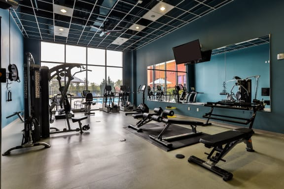 24-Hour Multi-Level Cardio And Weightlifting Center at The Residences at The Streets of St. Charles in St. Charles, MO