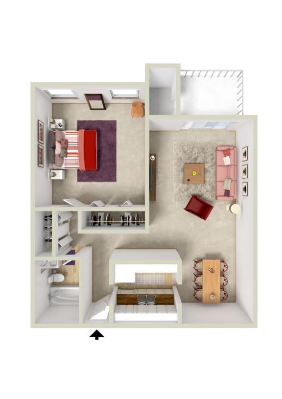 Floor Plan  1BR 1BA 728spft
