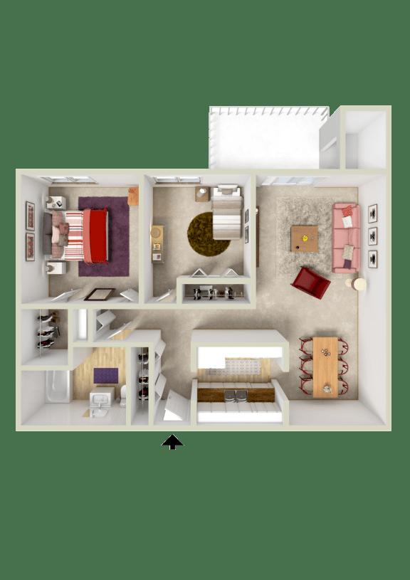 Floor Plan  2BR 1BA 947sqft