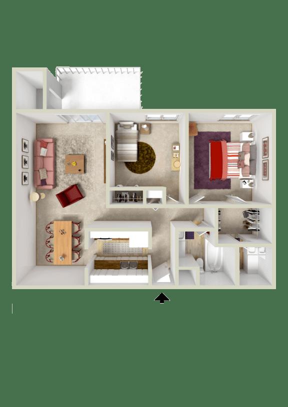 Floor Plan  2BR 1.5BA 971
