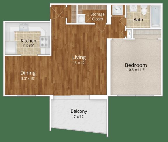 Floor Plan  The Aspen 1BR 1BA