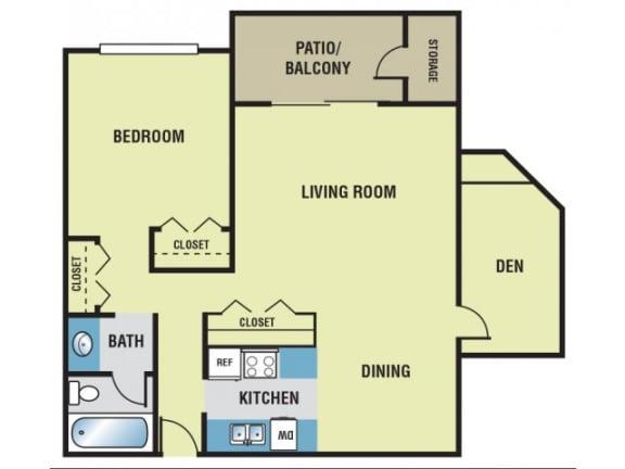 1 Bedroom / 1 Bath + Den - 750 Sq. Ft. Floor Plan Image - A2